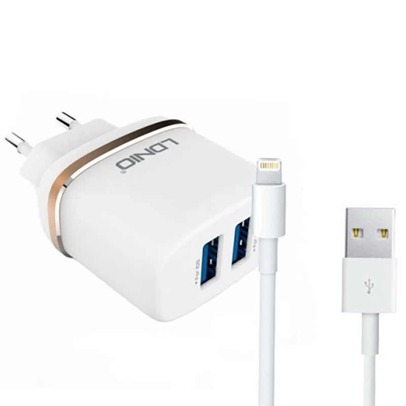 Адаптер сетевой Ldnio Lightning cable DL-AC52  |2USB, 2.4A| 14427