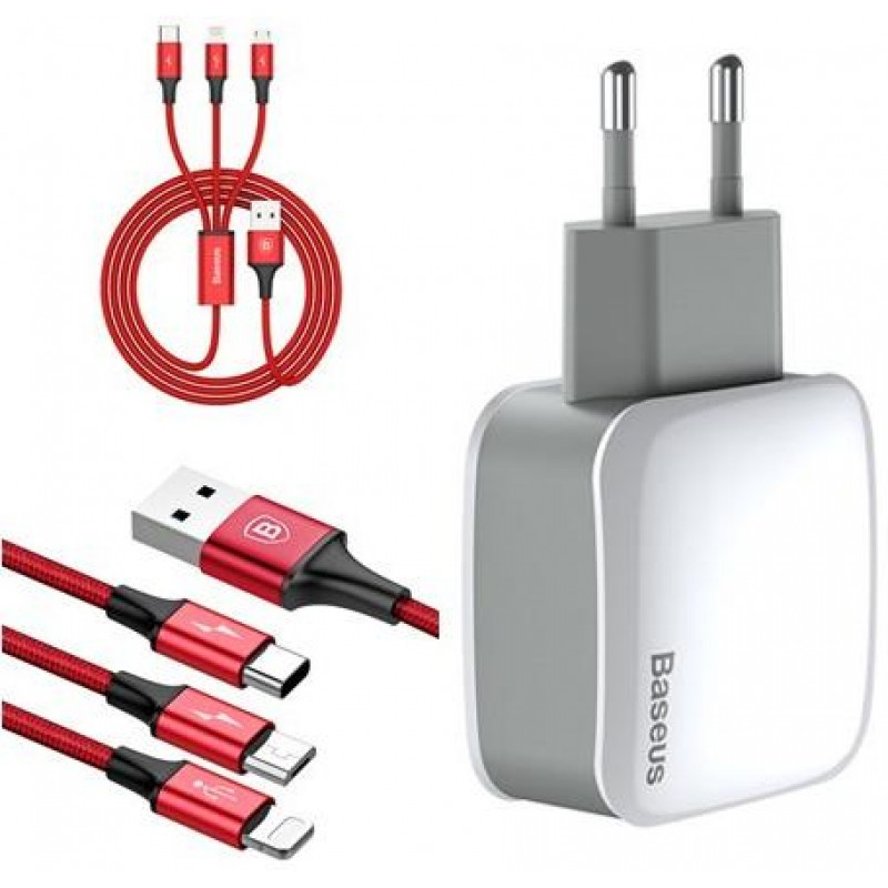 Адаптер сетевой BASEUS Letour 3-in-1 cable Lightning+Micro USB+Type-C |2USB, 2.1A| 14812