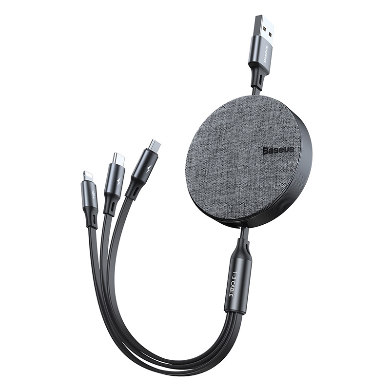Кабель Baseus Fabric 3-in-1 Flexible  Micro USB+Lightning+Type-C, |3.5A, 0.35M-1.2M| 16067