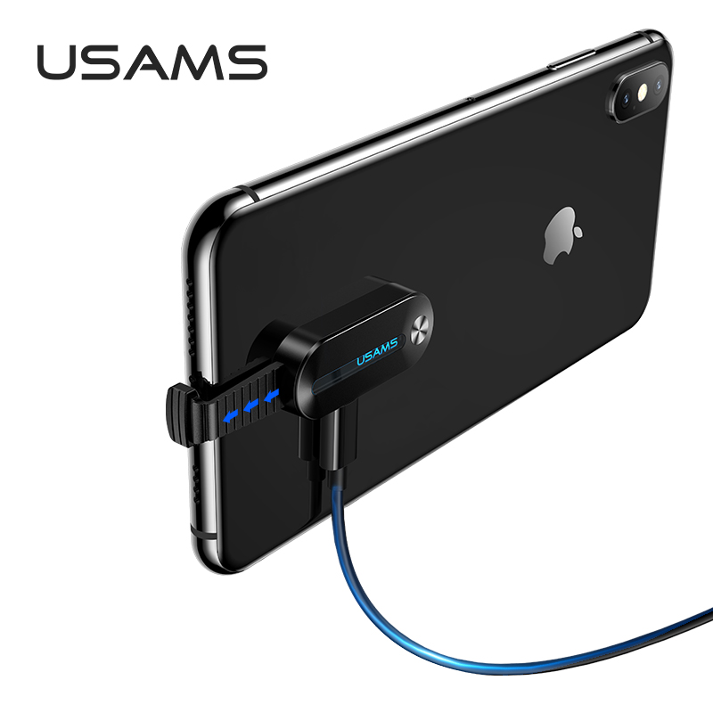 Переходник USAMS Lightning to 3.5mm+Lightning Adapter With LED Light US-SJ358 AU10 |2A| 16364