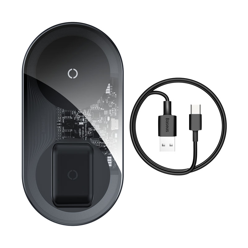 Зарядка Qi Baseus Simple 2in1 Wireless Charger Pro Edition For Phones+Pod |15W| 25061