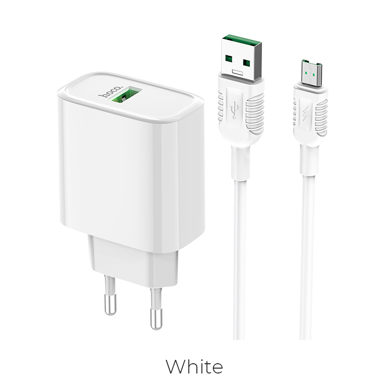Адаптер сетевой HOCO Micro USB Cable (7pin) Dynamic power fully compatible charger set C69A |1USB, 4.5A, QC3.0, 22.5W| 25064