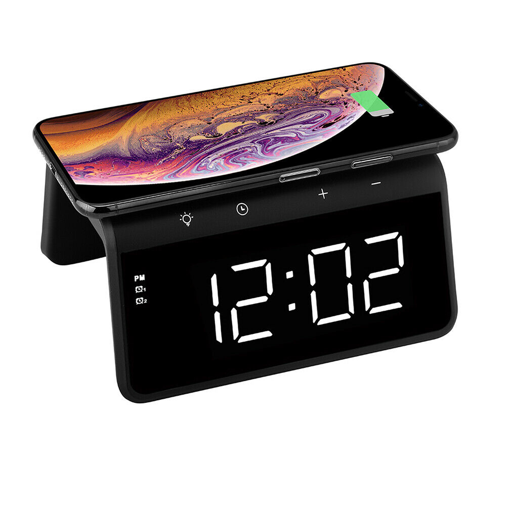 Настольные LED смарт-часы with QI Charger 3 in 1 SY-W0258 |Alarm/Watch/Qi Charger, RGB Light, 10W| 12734
